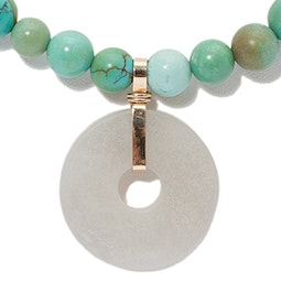 Antique Turquoise Necklace with Jade Bi Pendant