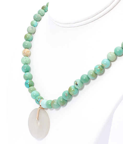 Antique Turquoise Necklace with Jade Bi Pendant(Chinese Jewelry)