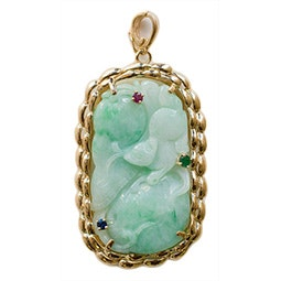 Jeweled Jadeite Pendant with Gold Chain
