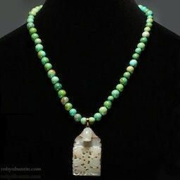 Turquoise Necklace with Jade Dragon & Peach Pendant