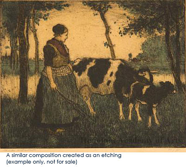 Dutch Girl Driving a Bull by Charles W. Bartlett(European Painting/Drawing)