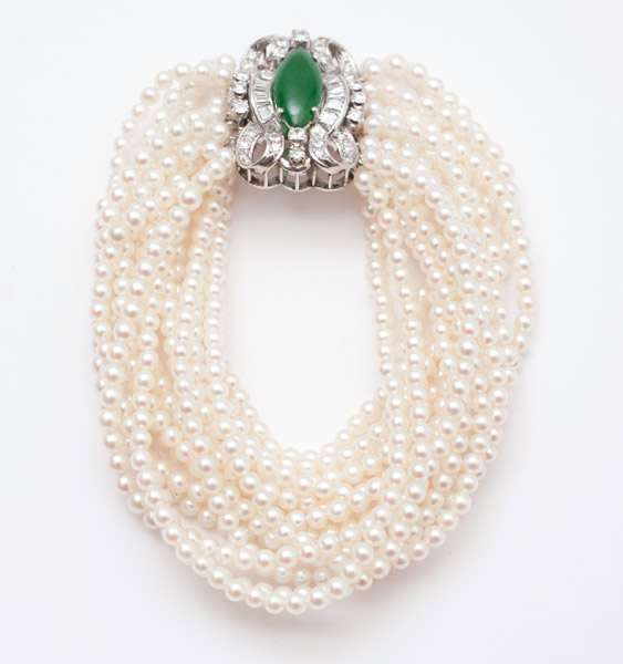 Pearl, Jade & Diamond Bracelet(Chinese Jewelry)