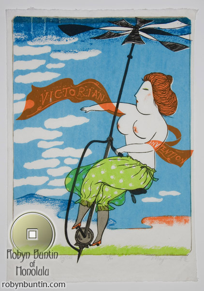 Victorian Invention, An Aerial Cycle (26/50) by Mayumi Oda(Japanese Print)