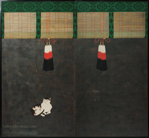 Cat & Sudare by Atomi Kakei(Japanese Screen)