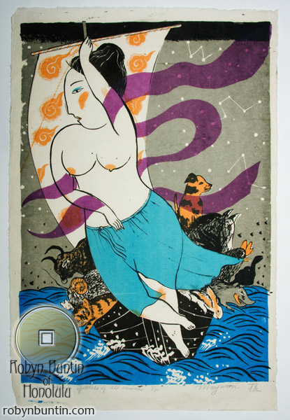 Treasure Ship, Goddess of all Animals (8/50) by Mayumi Oda(Japanese Print)