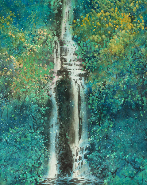 Spring Waterfall by H. H. Wong 黃可鏗(Chinese Painting/Drawing)