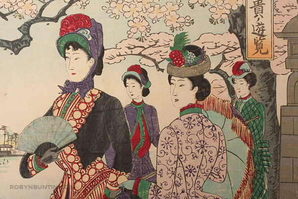 Flower Viewing  by Toyohara Chikanobu 豊原 周延(Japanese Print)