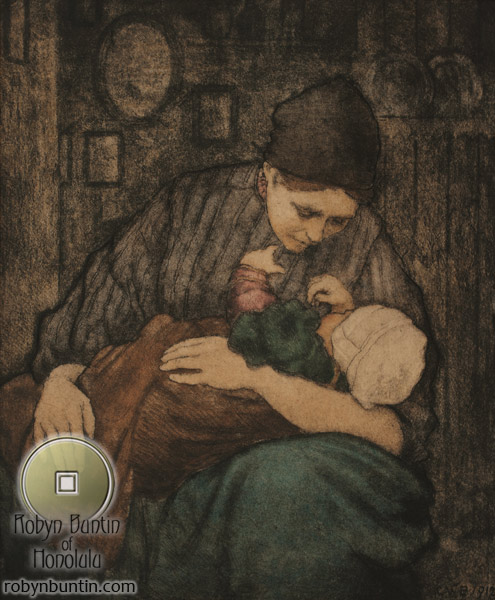 Motherhood, Holland 1912 by Charles W. Bartlett(European Print)
