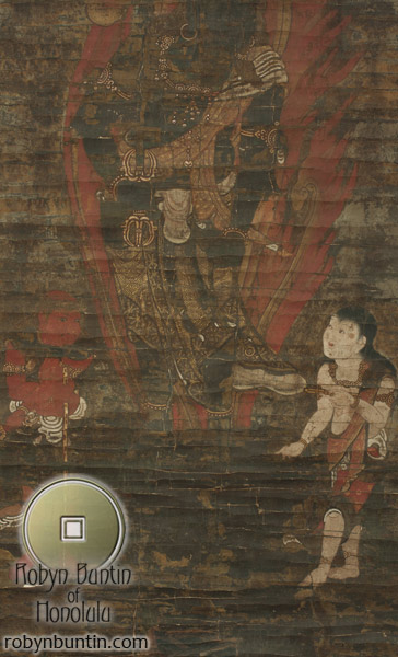 Fudo Myoo with Attendants (with box)(Japanese Scroll)
