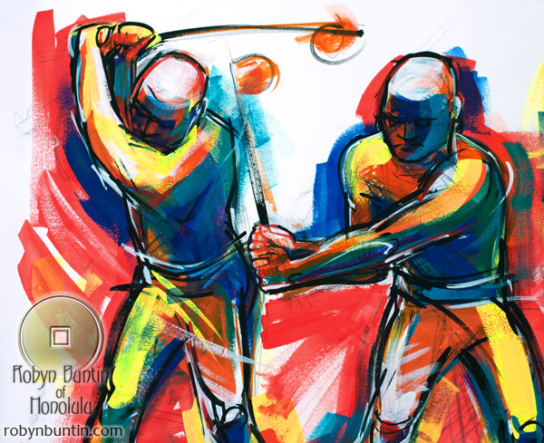 Waikoloa Golfer I by Judith Kunzle(Hawaiian Painting/Drawing)