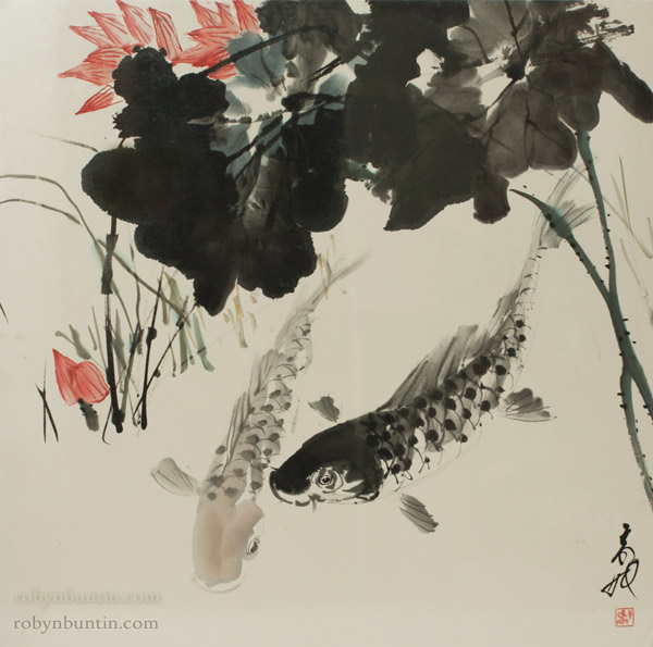 Fish in a Lotus Pond by H. H. Wong 黃可鏗(Chinese Painting/Drawing)