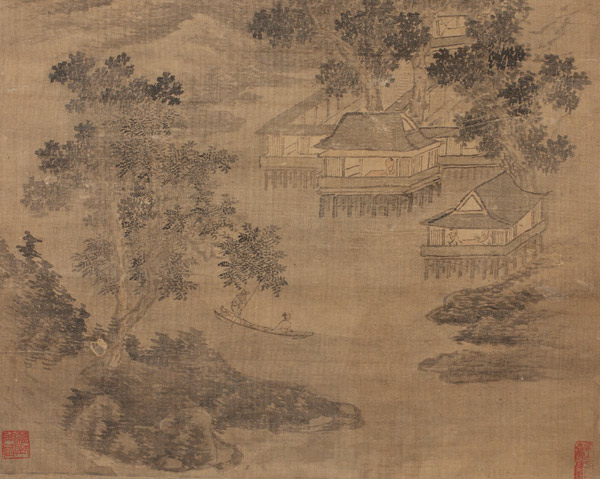 Mountain River Village(Chinese Scroll)