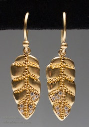 Gold & Diamond Leaf Earrings by Tomi