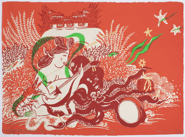 Sarasvati in the Octopus' Garden (23/88) by Mayumi Oda(Japanese Print)