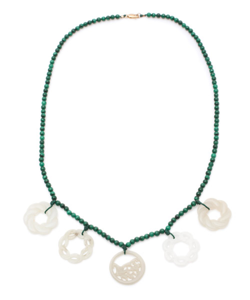 Malachite & White Jade Necklace(Chinese Jewelry)