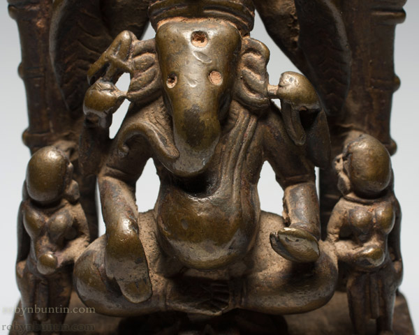 Bonze Ganesha with 2 Consorts(Indian Sculpture)
