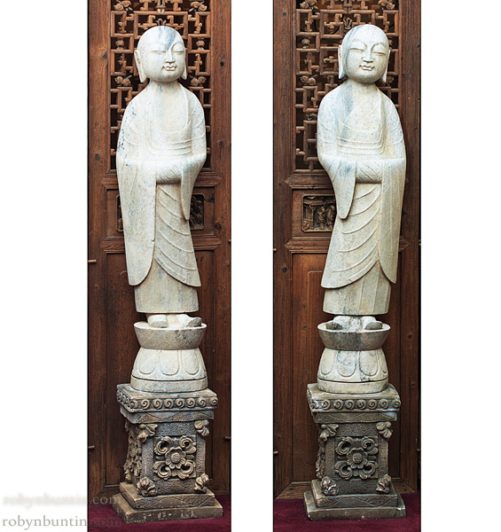 Pair of Marble Monks(Chinese Sculpture)