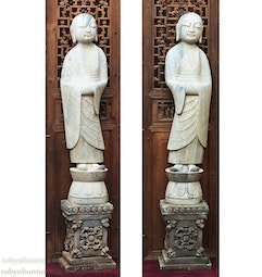 Pair of Marble Monks