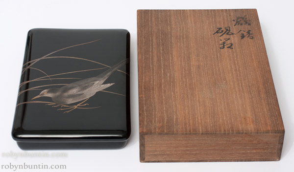 Lacquer Suzuribako with Bird Design(Japanese Lacquer)