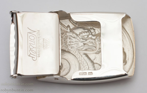 Silver Belt Buckle with Dragon Design(Japanese Sculpture)
