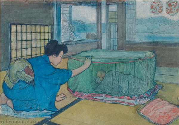 Japanese Mother & Child by Charles W. Bartlett(Japanese Painting/Drawing)