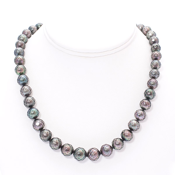Hanashinju Faceted Tahitian Pearl Necklace by Mark Kane(Hawaiian Jewelry)