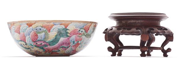 Bowl with Fu Dogs (with stand)(Chinese Functional Object)