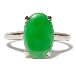 Jadeite Ring in White Gold