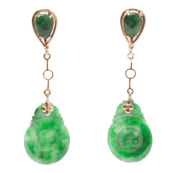 Spinach Jade Earrings(Chinese Jewelry)