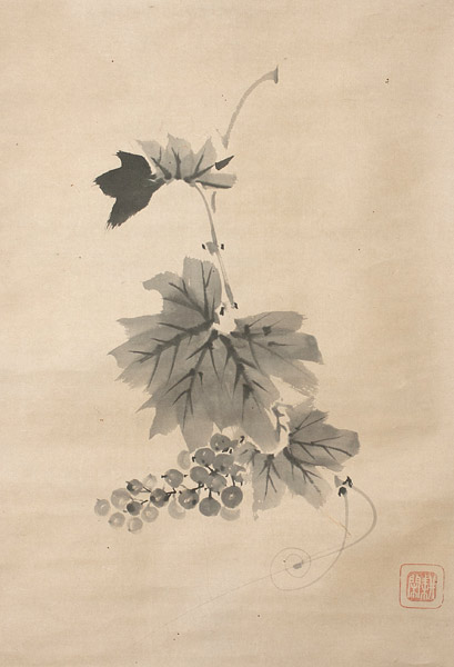 Grapes (with box) by Isshi Monju(Japanese Scroll)