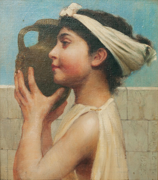Roman Maiden by Charles W. Bartlett(European Painting/Drawing)