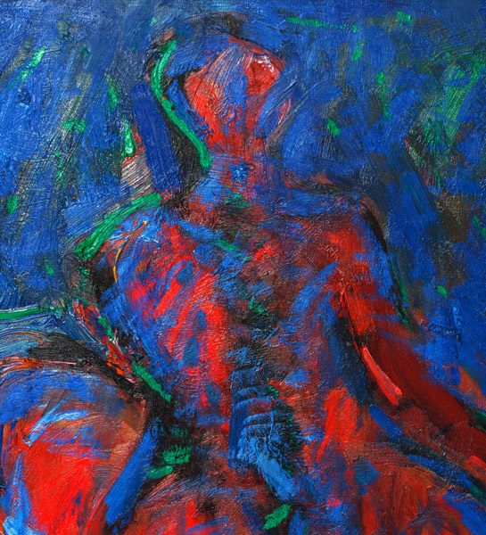 Red & Blue Figural Abstract by John Young(Hawaiian Painting/Drawing)