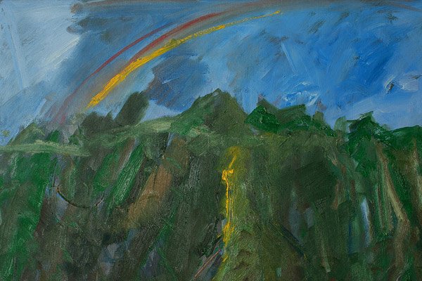 Abstract Koolaus with Rainbow by John Young(Hawaiian Painting/Drawing)