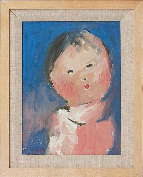 Child with Blue Background by John Young(Hawaiian Painting/Drawing)