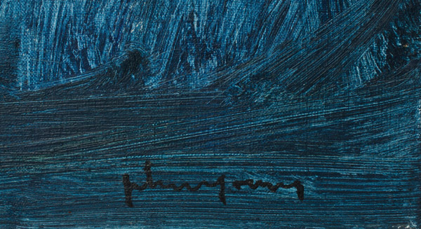 Small Blue & White Abstract by John Young(Hawaiian Painting/Drawing)
