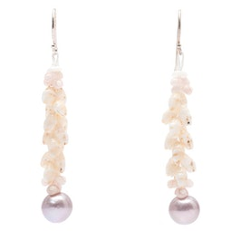 Ni'ihau Shell Earrings with Freshwater Pearl by Melina P.