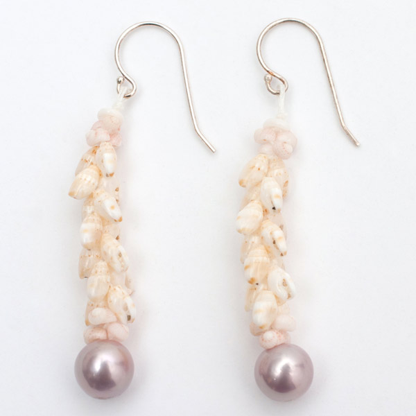 Ni'ihau Shell Earrings with Freshwater Pearl by Melina P.(Hawaiian Jewelry)