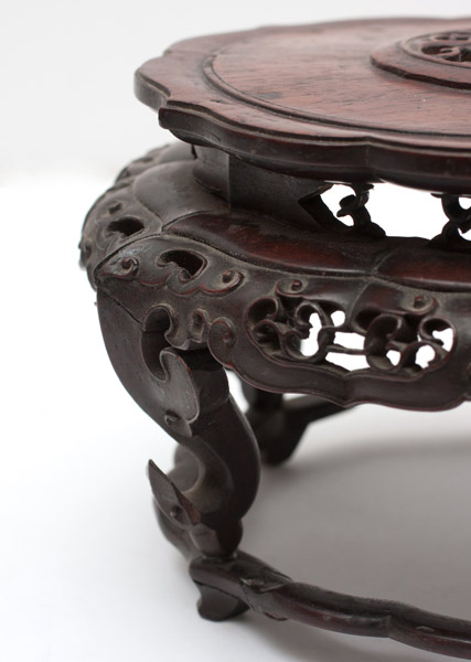 Round Huanghuali Stand(Chinese Sculpture)