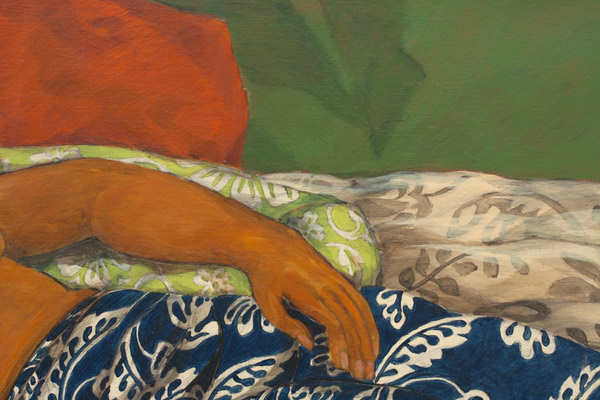 Reclining Woman in Blue Pareo by Yvonne Cheng(Hawaiian Painting/Drawing)