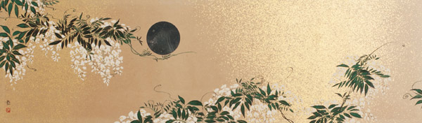Black Moon & White Flowers Panel(Japanese Painting/Drawing)
