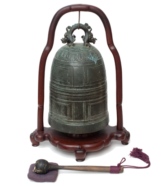 Bronze Bell with Stand & Mallet(Chinese Functional Object)