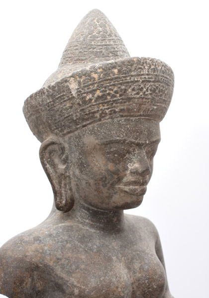 Khmer Female Deity on Wood Stand(Southeast Asian Sculpture)