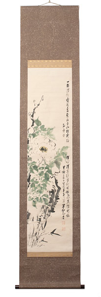 Nanga Flower Painting(Japanese Scroll)