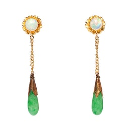 Pair of Jadeite & Opal Earrings