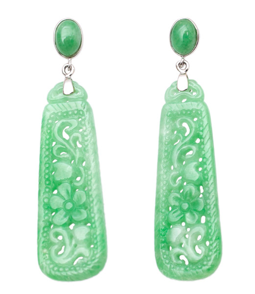 Jadeite Dangle Earrings(Chinese Jewelry)