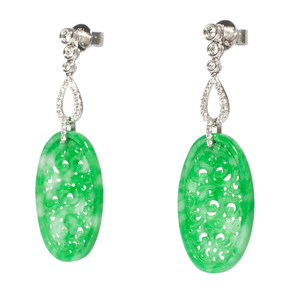 Jadeite & Diamond Earrings(Chinese Jewelry)