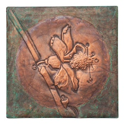 Copper Repousse Flower Panel by Kazuko Inomata