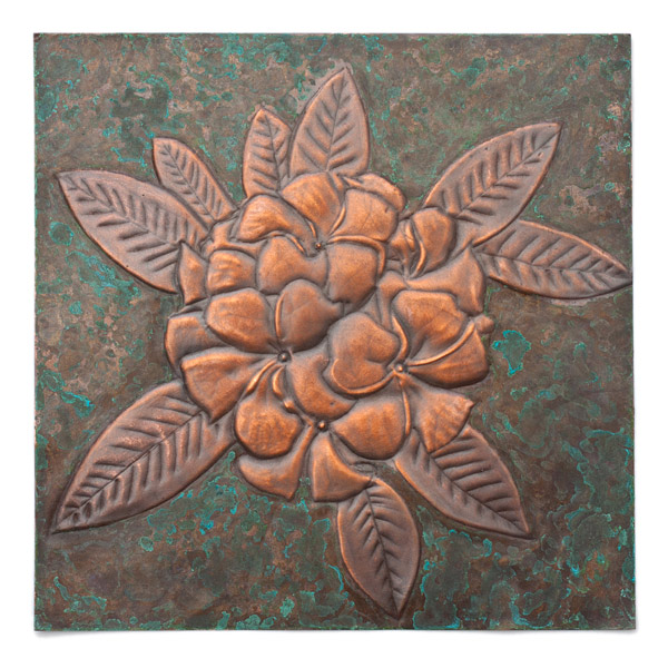 Copper Repousse Flower Panel by Kazuko Inomata(Japanese Sculpture)