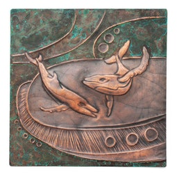 Copper Repousse Whale Panel by Kazuko Inomata
