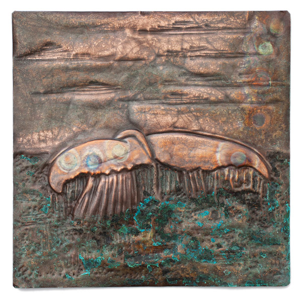 Copper Repousse Whale Tail Panel by Kazuko Inomata(Japanese Sculpture)